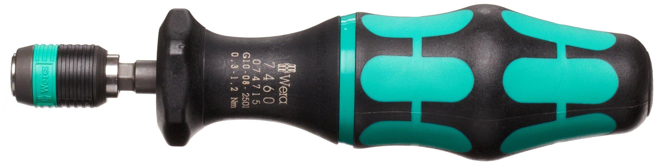 Wera 05074715001 Kraftform 7460 Hexagon Torque Screwdriver, 1/4'' Head, 0.3-1.2 Nm Pre-Set Adjustable Torque Range