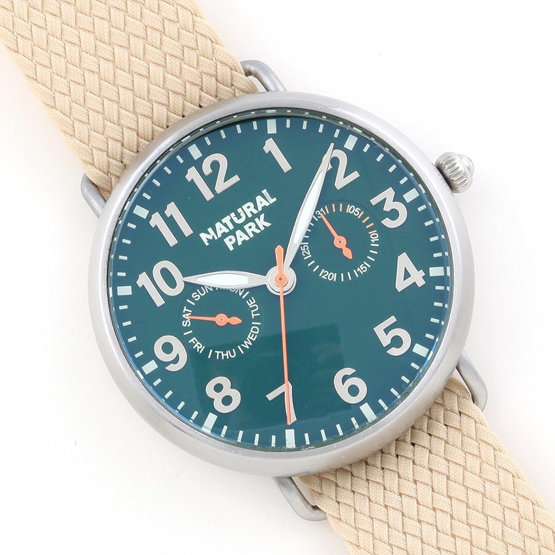 Wasserdicht Unisex Classic Armbanduhr DunkelgrÜn Zifferblatt Tag Datum Komplikationen mit Beige Nylon Gurt