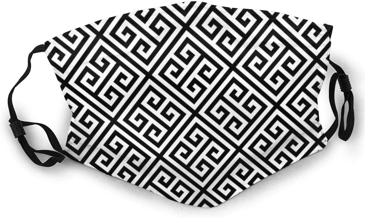 Black And White Pattern Greek Key Pattern Greek Fret Design Unisex/Winter/Fleece/Neck/Warmer/Gaiters/Hairband/Cold/Weather/Tube/Face//Ma-sk/Thermal/Neck/Scarf
