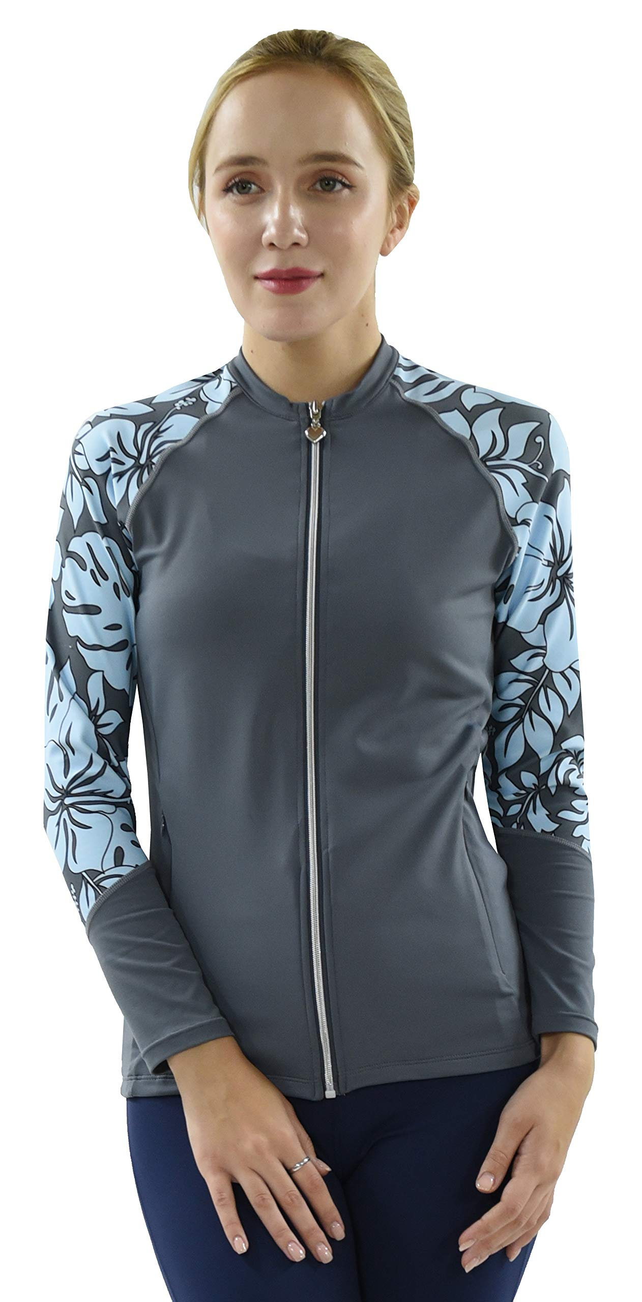 Private Island Hawaii UV Women Rash Guard Zip Up Long Sleeve Yoga Active Workout (XXXL, GwB-JRSRGT) by Private Island