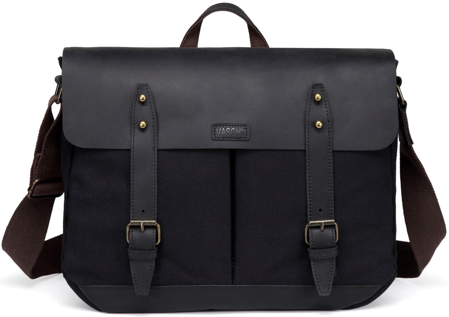 Black Leather Messenger Bag for Men,VASCHY Vintage Satchel 15.6 inch Laptop Business Briefcase Shoulder Bag with Top Lift Handle