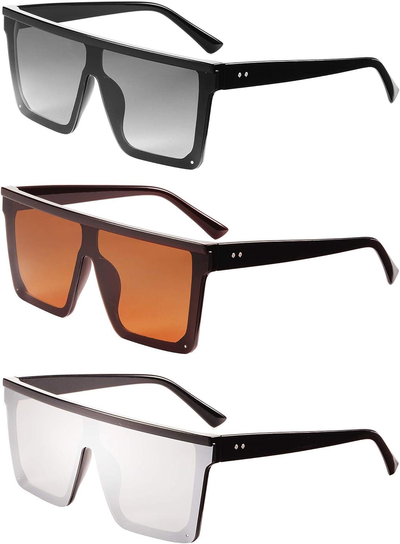 3 Pairs Siamese Lens Sunglasses Oversize Square Sunglasses for Women Men