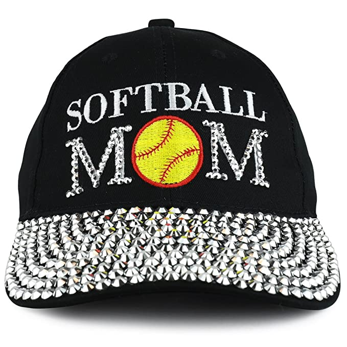 Trendy Apparel Shop Softball MOM Embroidered and Stud Jeweled Bill  Unstructured Baseball Cap - Black 59643a659ff1