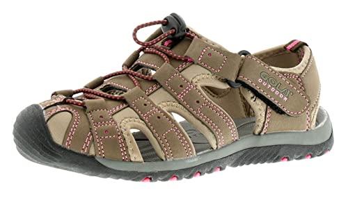 4b34e38fb858 Gola Ladies Womens Taupe Hot Pink Shingle Touch Fasten Sandals - Taupe Hot