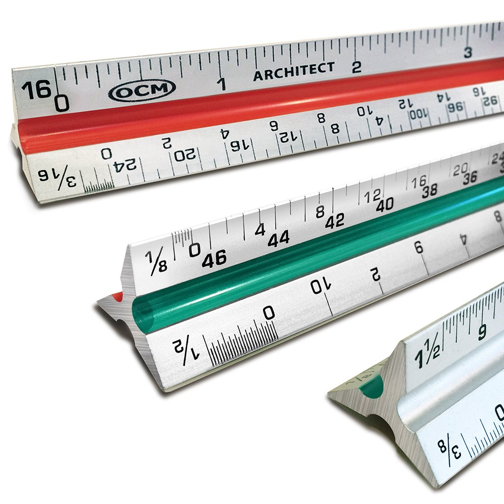 "OCM 12"" Triangular Architect Scale Ruler (Professional Grade Solid Aluminum) Color Coded Architectural Scale (Imperial Measurements) - Ideal for Architects, Engineers, Draftsman and Students"