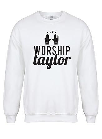414e10e0 Kelham Print Unisex Slogan Sweater Jumper Worship Taylor White Small with  Black