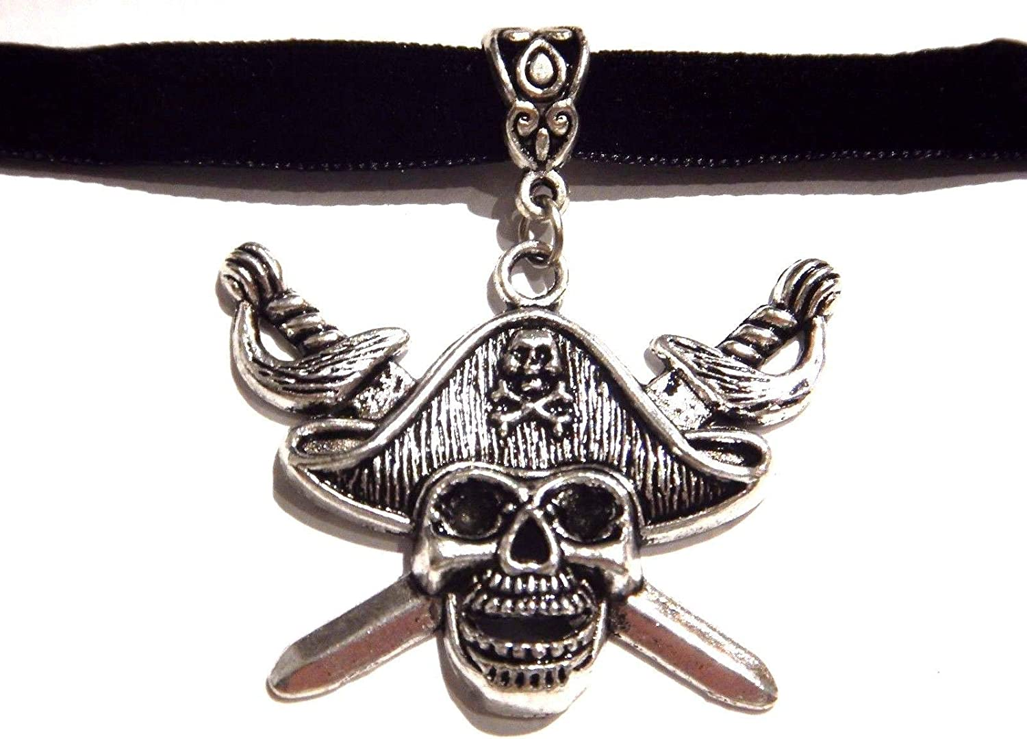 Black Skull and Crossbones Choker Necklace Collar Band Pirate Gothic Punk Metal