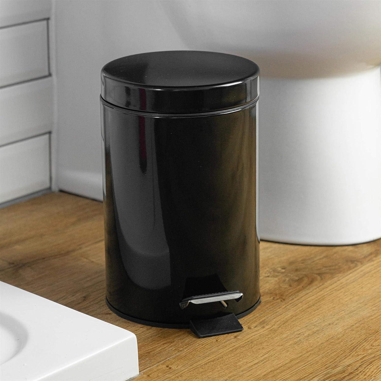 Cubo de 3/l con Pedal Harbour Housewares Set de Cubo de Basura para ba/ño y escobilla Acabado en Negro