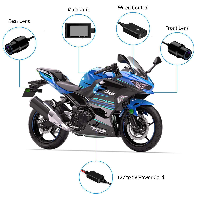 Grabadora de conducción para motocicleta, impermeable, doble lente 1080P, cámara de salpicadero Dvr para deportes, cámara de acción, vídeo, con ...