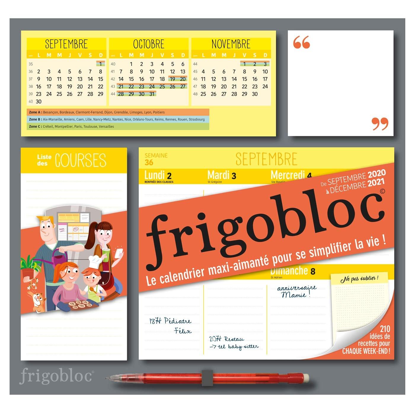 Frigobloc 2021 Hebdomadaire   Calendrier d'organisation familiale