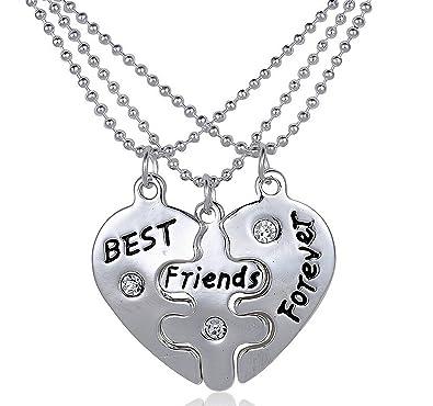 4bef3006e8312 Set of 3 Pieces BFF Best Friend Forever Split Heart Pendant Valentine Heart  Friendship Necklaced