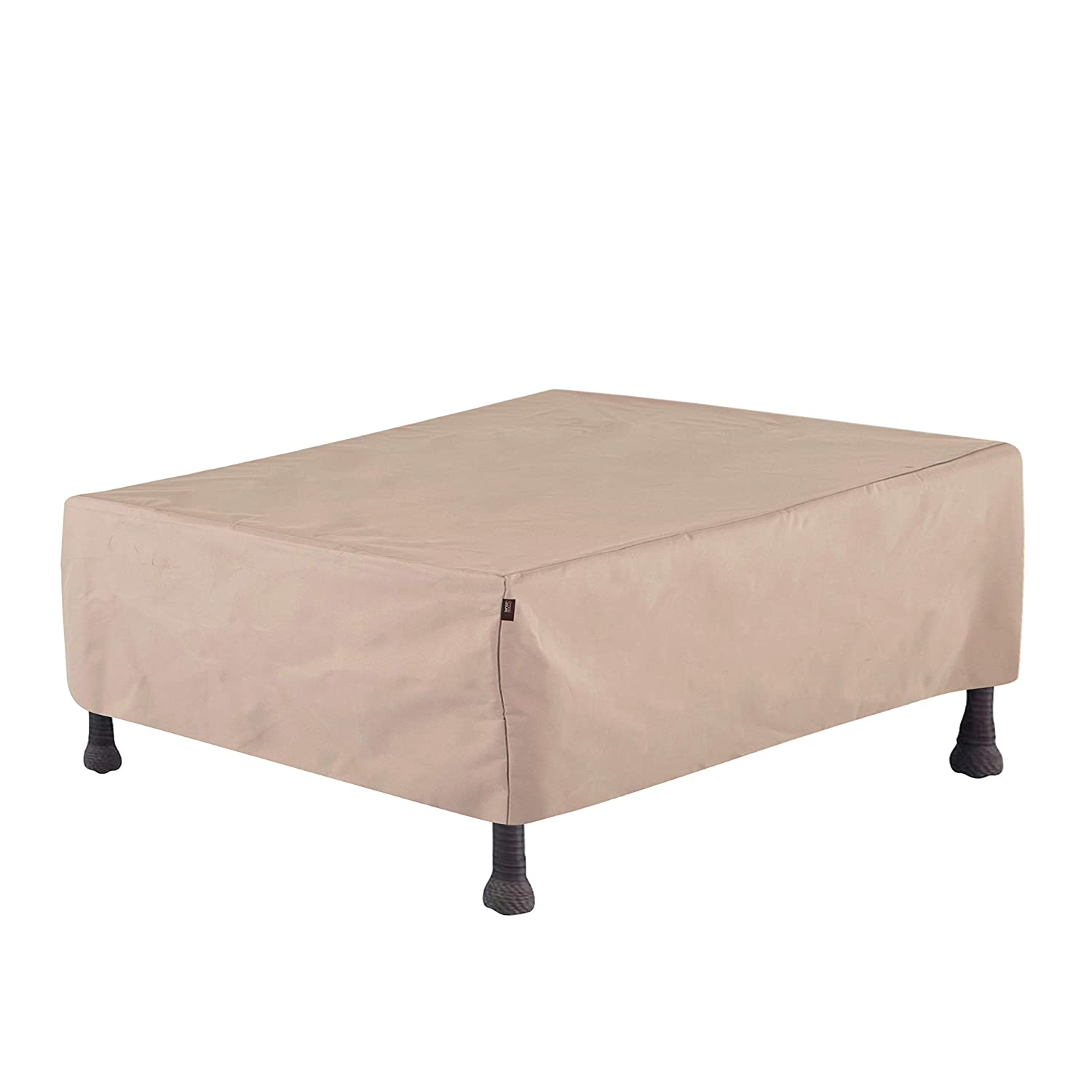 Modern Leisure 2928 Chalet Patio Coffee Table/Ottoman, Outdoor Cover (48 L x 25 D x 18 H inches) Water-Resistant, Khaki/Fossil