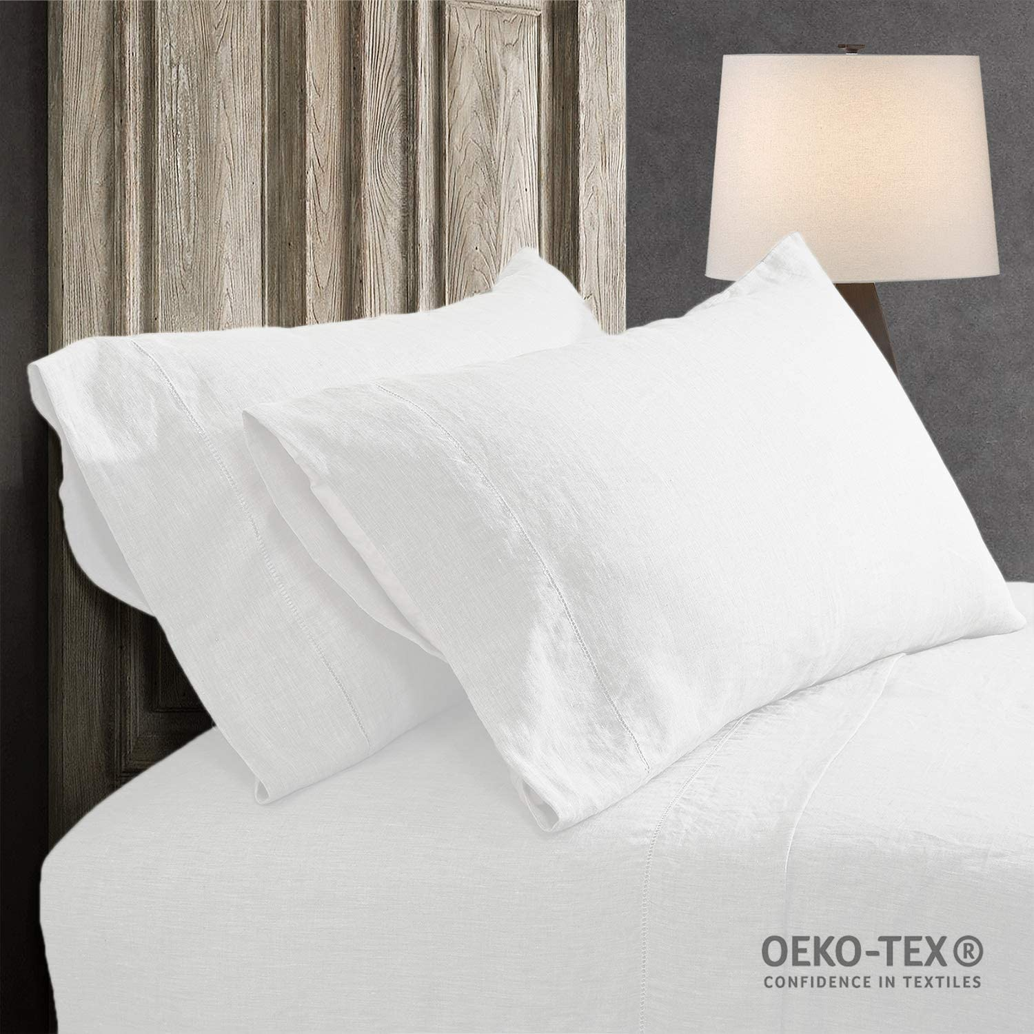 Simple/&Opulence 100/% Stone Washed Linen Embroidered Thread Solid 2 Pillowcase Standard, White