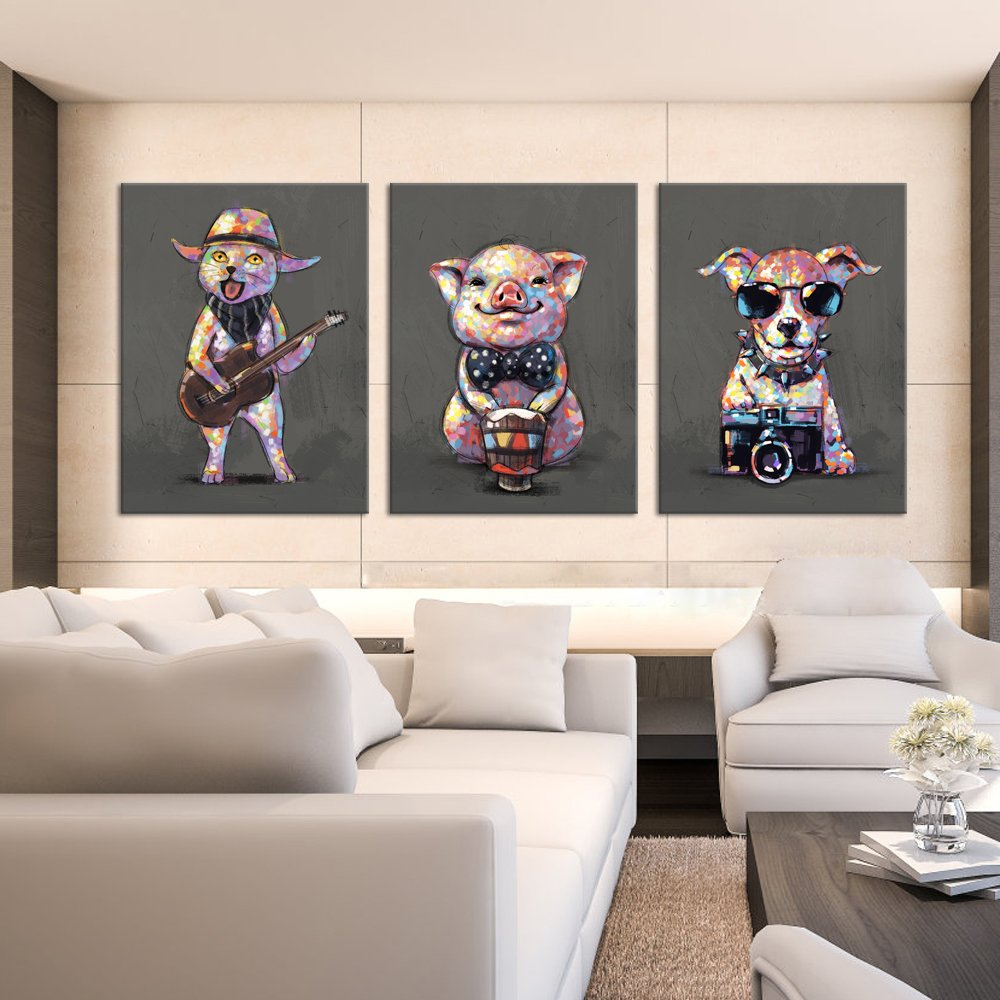 16x20x3 Visual Art Decor Abstract Funky Animals Wall Art Decor Pig Plays The Drum Painting Cat Guitar Player Dog Photographer Canvas Prints Modern Artwork