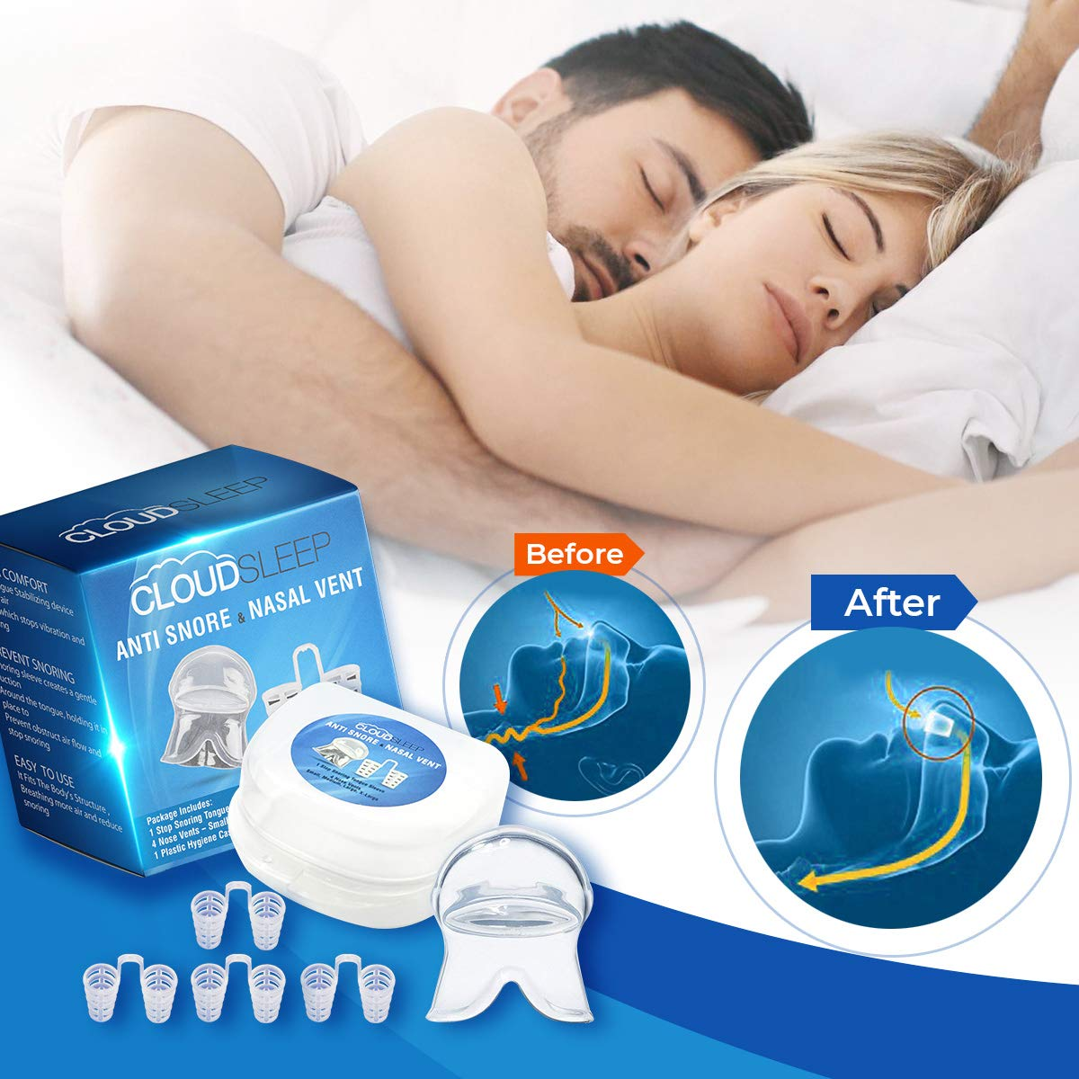 CLOUDSLEEP Anti Snoring Nose Vents Kit: 4 Pairs of Nasal Dilators in 4 Sizes + Anti Snore Mouth Guard Bundle| Easy to Use Silicone Snore Stopper Kit| Stop Snoring Solution Snoring Tongue Retainer by CLOUDSLEEP (Image #2)