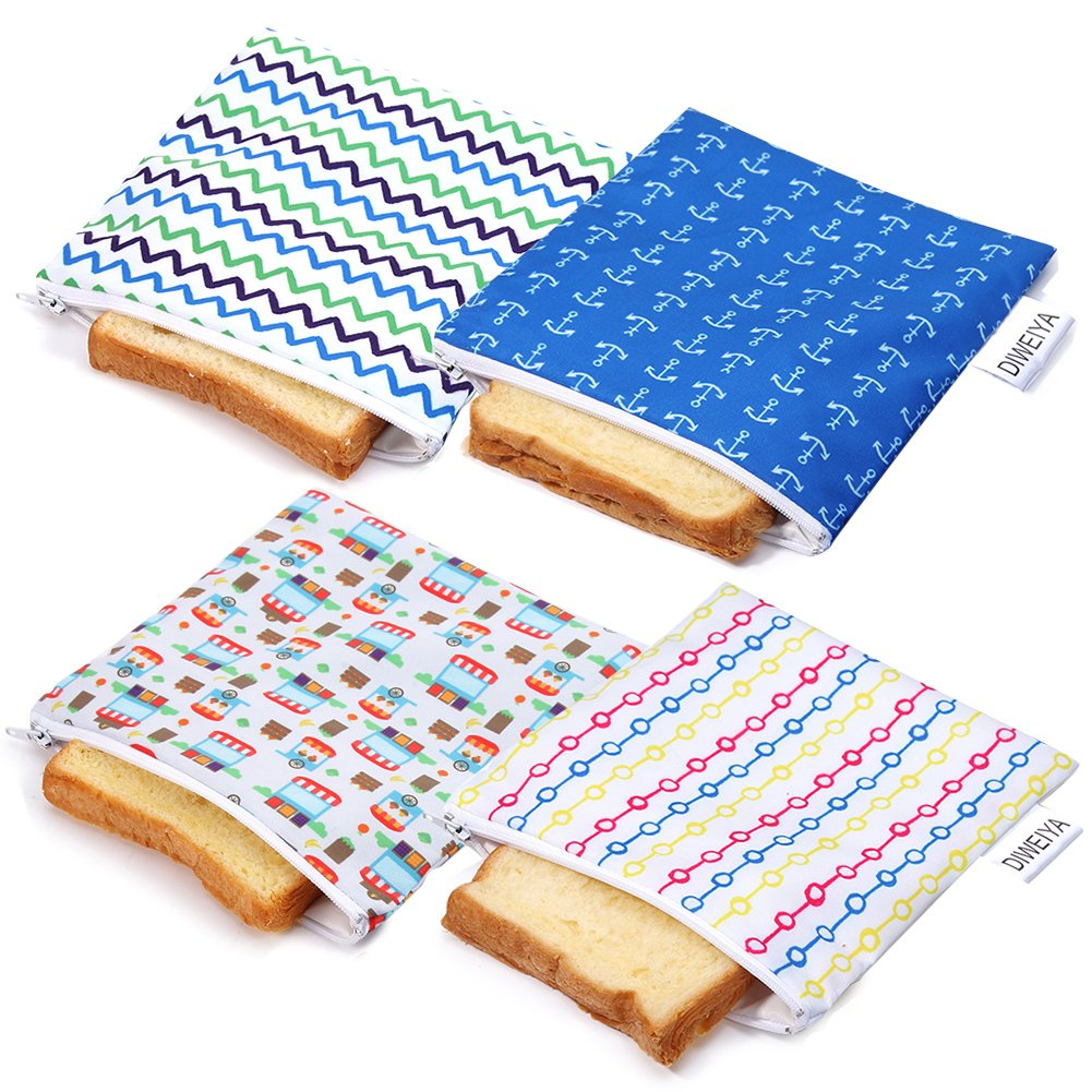 Reusable Snack Bags Sandwich bags Dishwasher Safe 4 Pack BPA-free