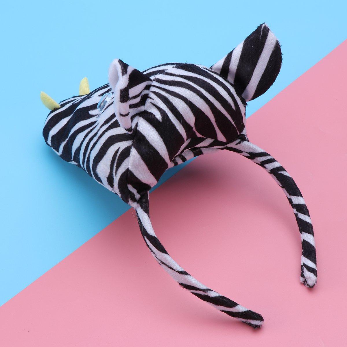 PRETYZOOM 3pcs Disfraz de Cebras para Ni/ños Conjunto de Diadema con Orejas Animal Cola y Pajarita Traje de Costume para Fiesta Carnaval