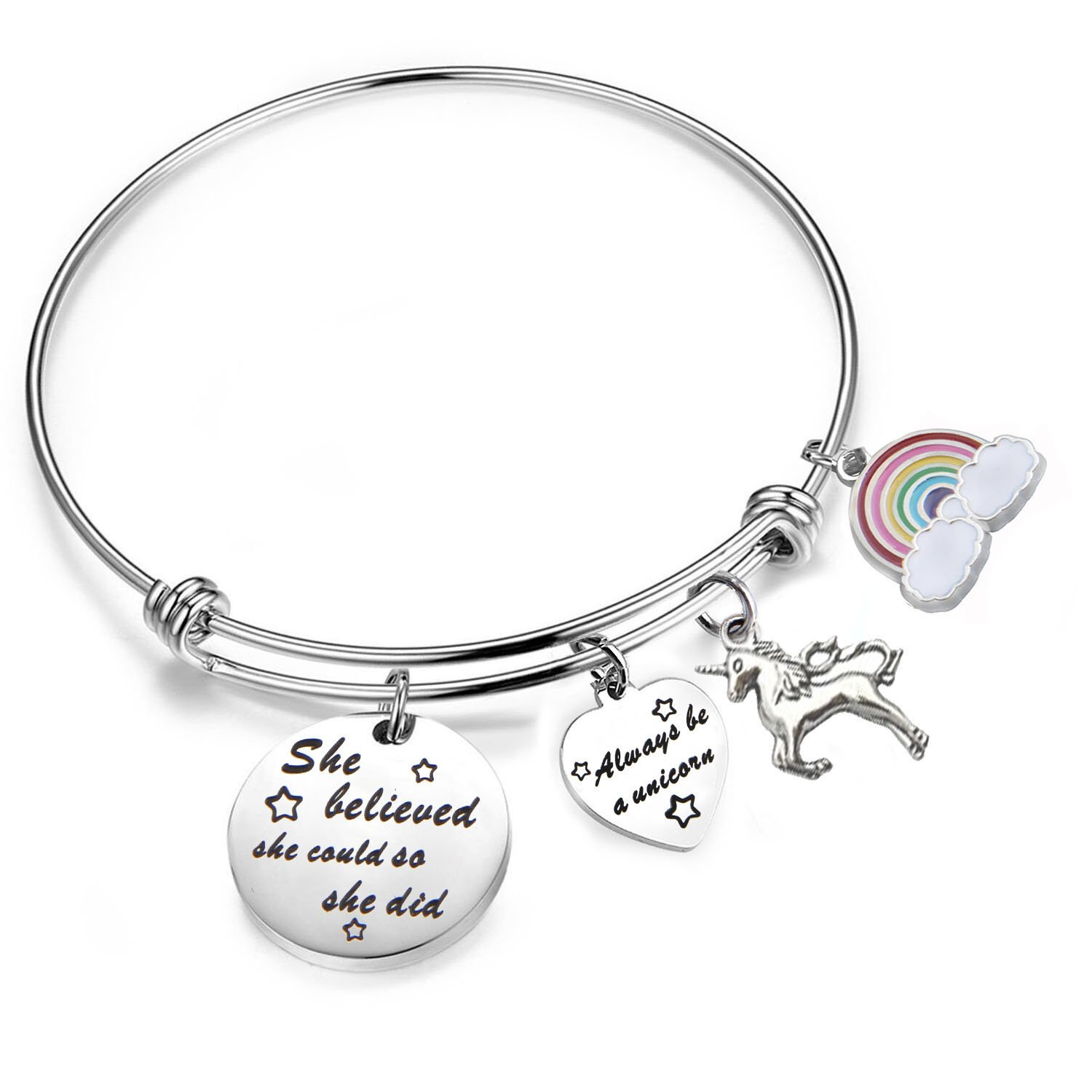 PLITI She Believed She Could So She Did Bracelet Always Be A Unicorn Charm Cuff Bangle Inspirational Jewelry Gift (silver)