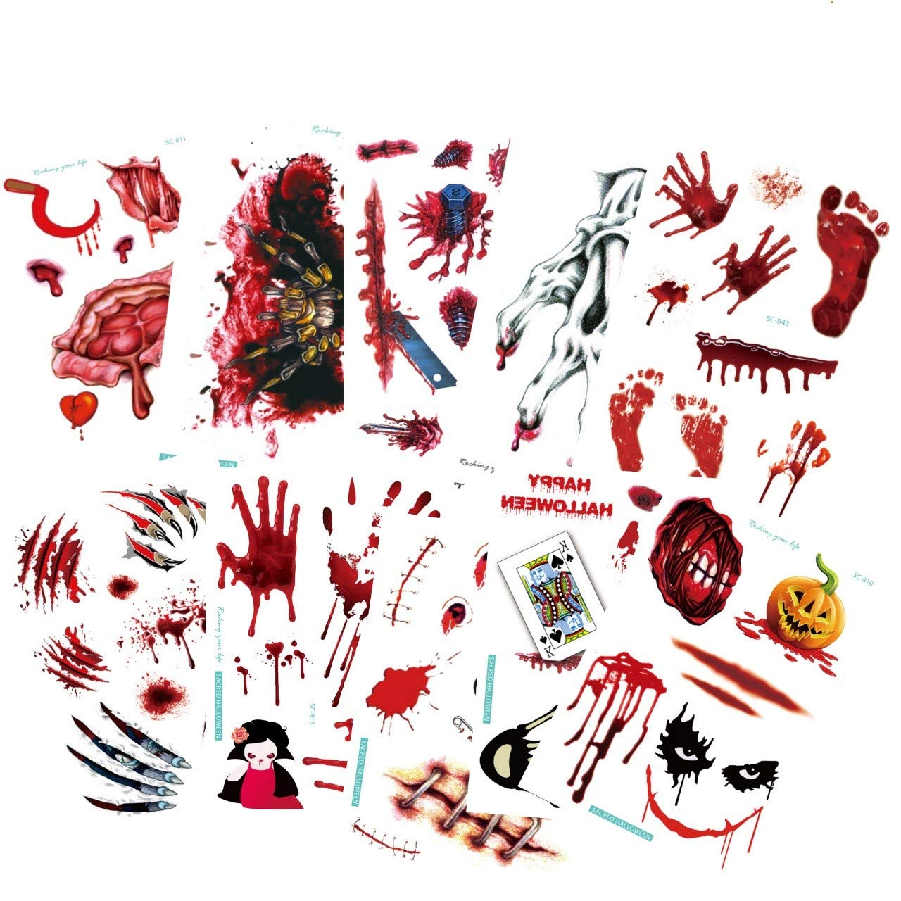 60pcs makeup scar wound tattoos stickers, Realistic Temporary Tattoos Stickers with Blood Stains Gunshot Wounds Design for Cosplay makeup Party Total 10 sheets .