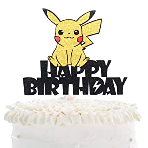 Creations Pikachu Happy Birthday Cake Topper - Pokeman Go Theme Party Adorable Glitter Pikachu Cake Décor - Baby Shower Child Birthday Party Decoration