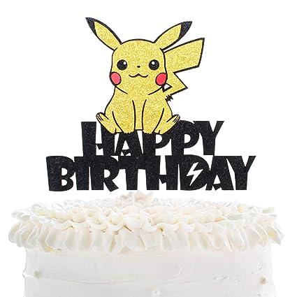 Pleasant Creations Pikachu Happy Birthday Cake Topper Pokeman Go Theme Funny Birthday Cards Online Hetedamsfinfo