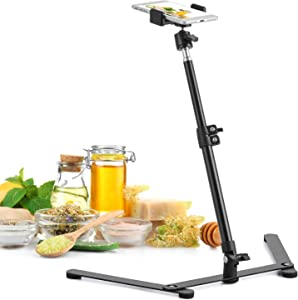 Overhead Photo Stand with Adjustable Phone Clamp, Table Top Cellphone Mount for Live Streaming, Online Teaching, Food Baking, Crafting, Drawing, Sketching Recording HG573