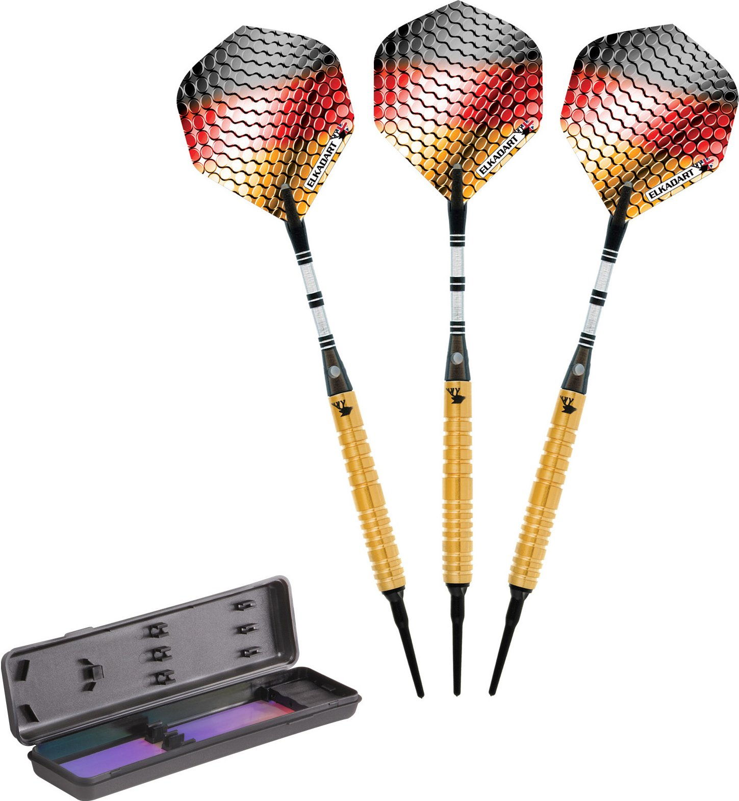 Elkadart Titanium 90% Tungsten Soft Tip Darts with Storage/Travel Case, Gold, 18 Grams