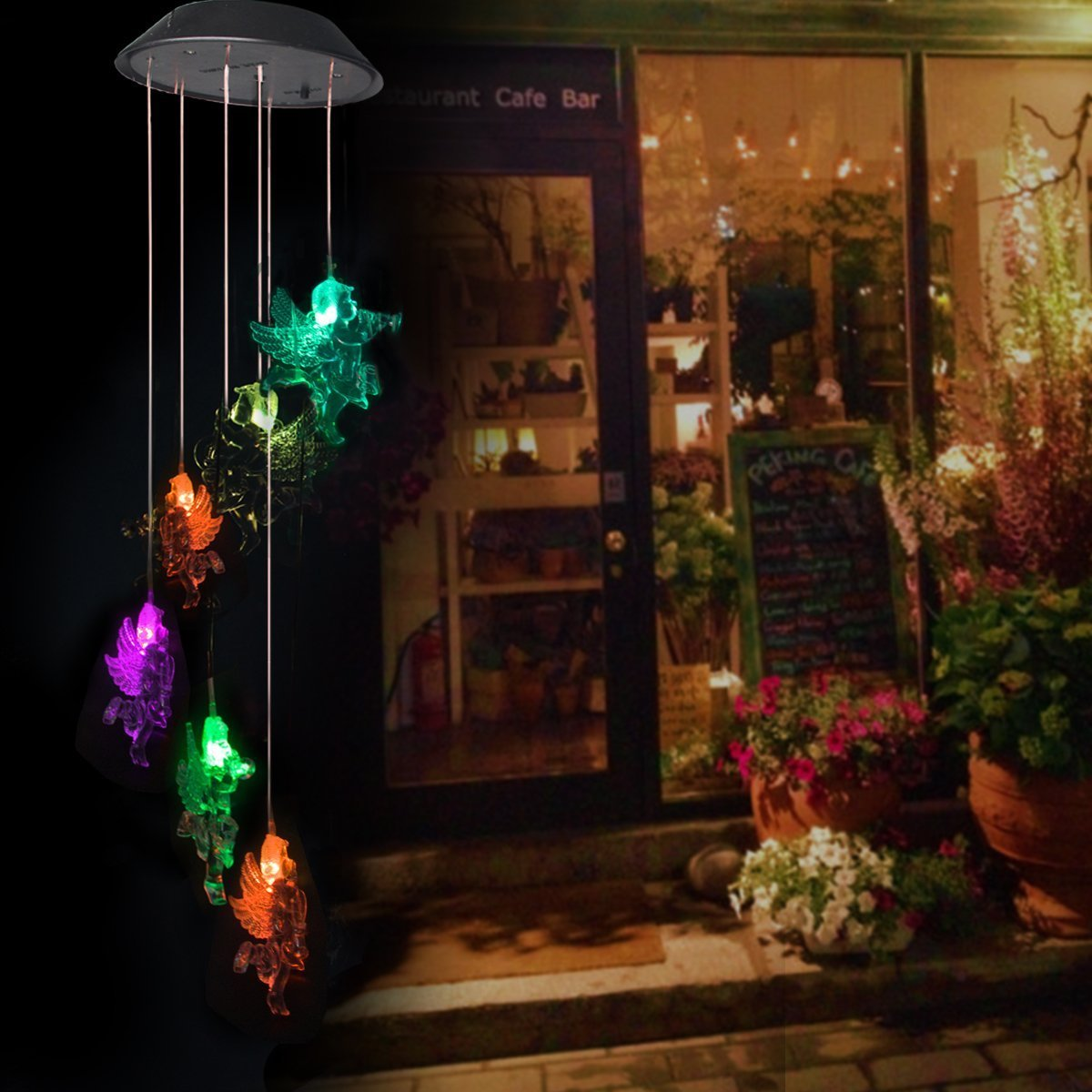 BALANSOHO Solar Mobile Wind Chimes 6 Angles Color-Changing Waterproof LED Hanging Lamp Night Lights for Outdoor Gardening Home Decoration