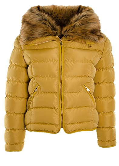 Fuchia boutique Women s Puffer Padded Bomber Jacket Ladies Coat Quilted  Faux Fur Collar Padded Jacket (Mustard 97e3b21c81