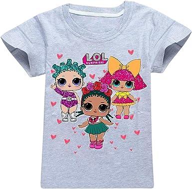 Bettydom - Camiseta de Manga Corta - para niña Gray-d 130 cm (8-9 años): Amazon.es: Ropa y accesorios