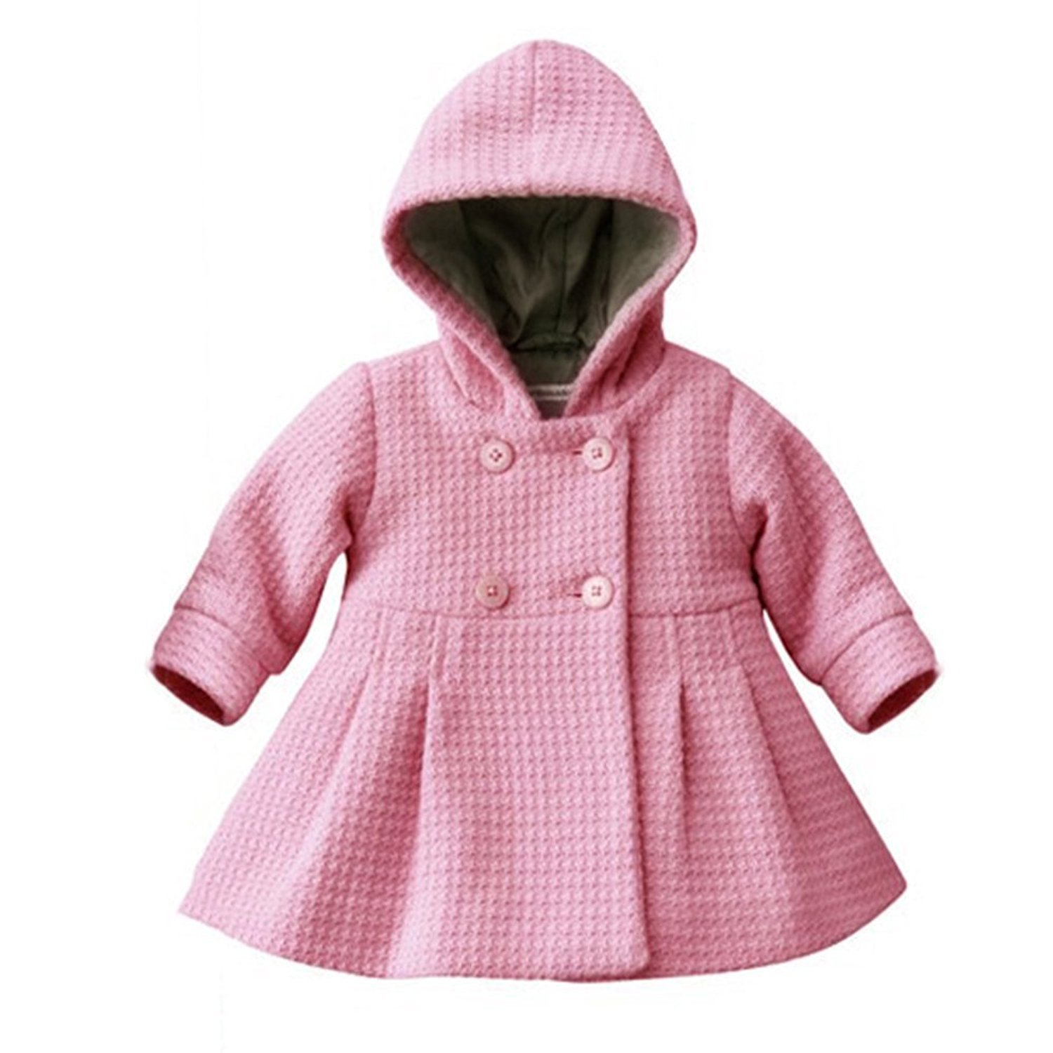 Baby Girl's Fall Winter Hooded Jacket Trench Coat Outerwear (18-24Months, Pink)