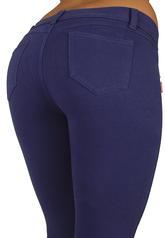 U-Turn Style 1118 - Basic Skinny Leg Premium French Terry Moleton in Navy Blue