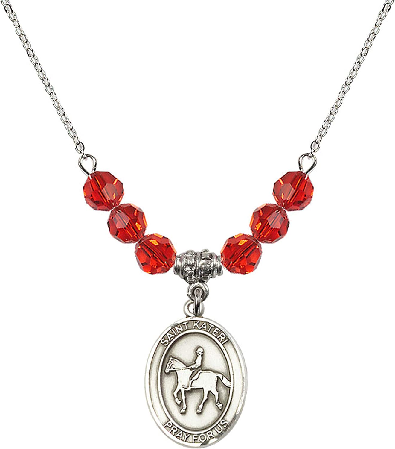 Bonyak Jewelry 18 Inch Rhodium Plated Necklace w// 6mm Red July Birth Month Stone Beads and Saint Kateri//Equestrian Charm