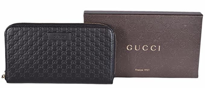 778deab115c7 Gucci Women's Leather Micro GG Guccissima Zip Around Wallet (Black) at  Amazon Women's Clothing store: