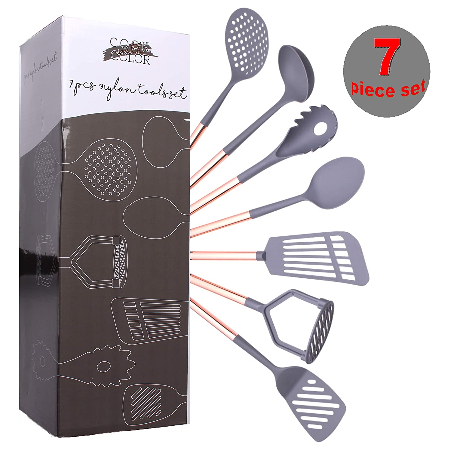 COOK With COLOR 7 Piece Black Nylon Cooking Utensil Set with Copper Handles