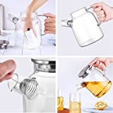 JIAQI Glass Water Pitcher with Stainless Steel Lid