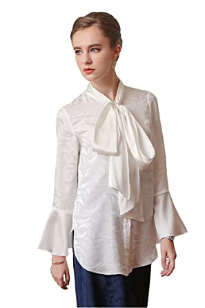 00c079a367cd VOA Women's Solid White Silk Scarf Neck Long Flare Sleeve Jacquard ...