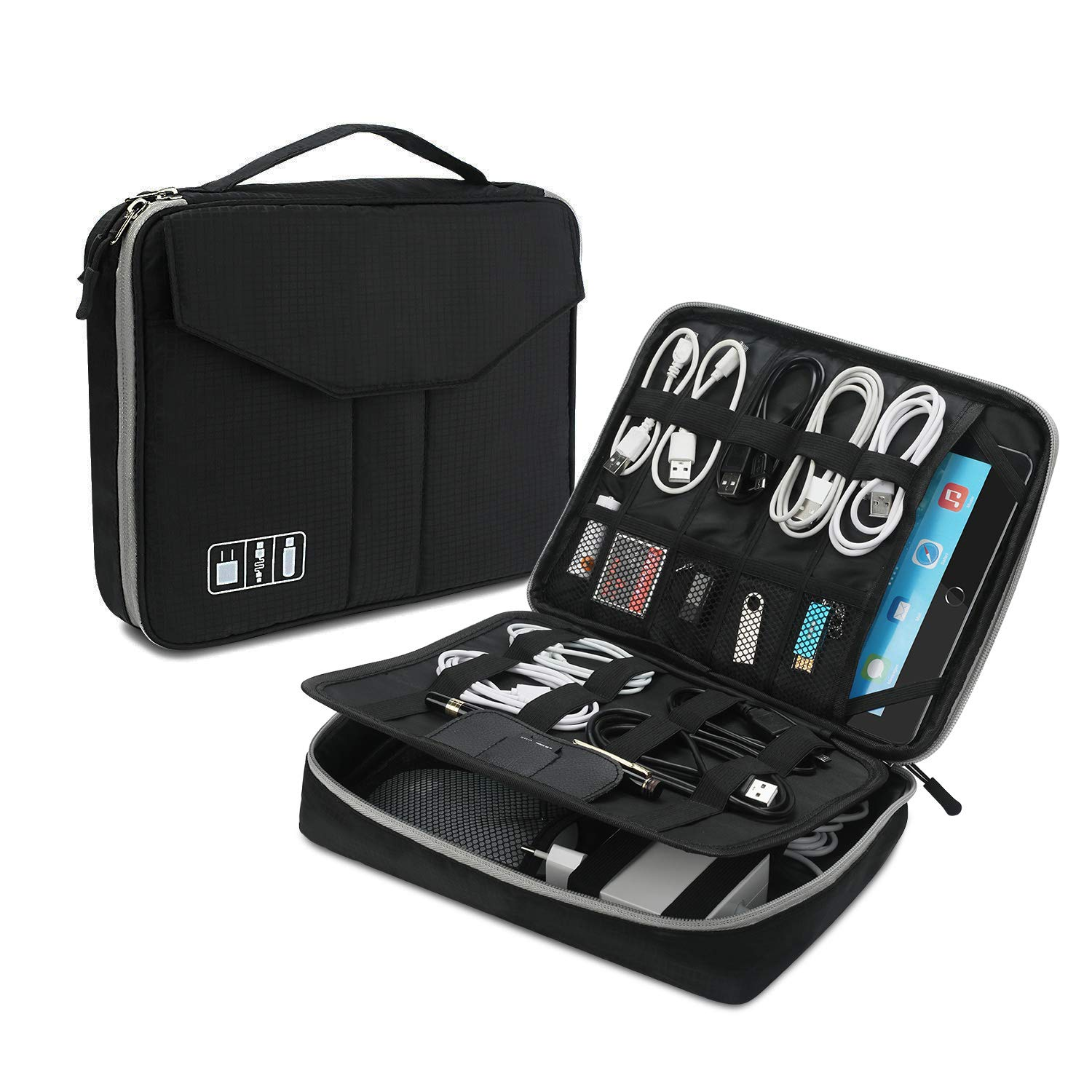 Electronics Organizer, Jelly Comb Double Layer Electronic Accessories Travel Gadget Shockproof & Waterproof Carry Case for Cables/Hard Drive/Laptop Charger/iPad 9.7''and More-(Black Oversize)