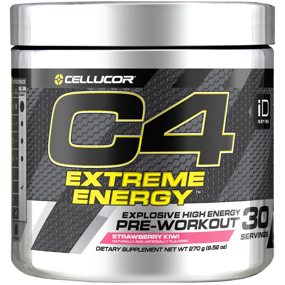 Cellucor C4 Extreme Energy Pre Workout Powder Energy Drink with Caffeine, Creatine, Nitric Oxide Beta Alanine, Strawberry Kiwi, 30 Servings