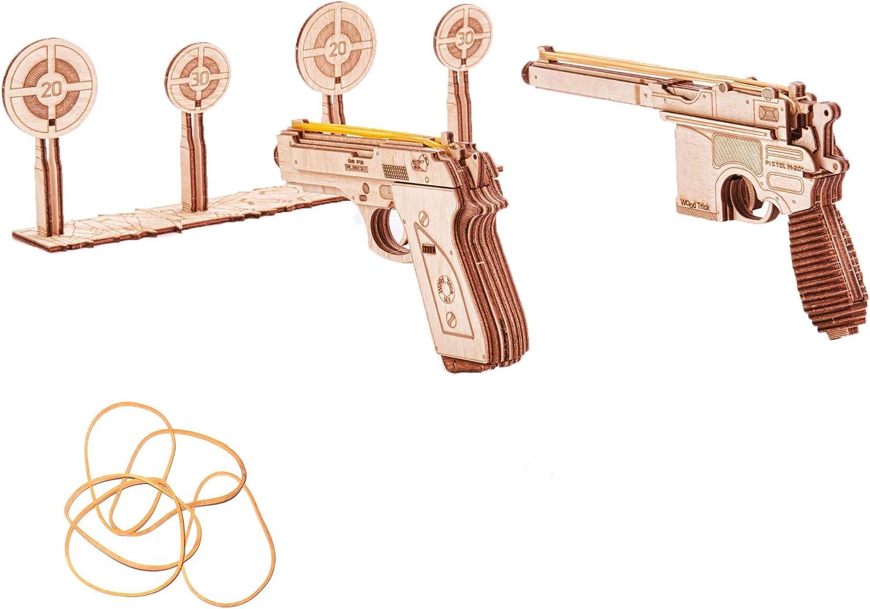 Puzzle de madera 3D - Set de pistolas y dianas
