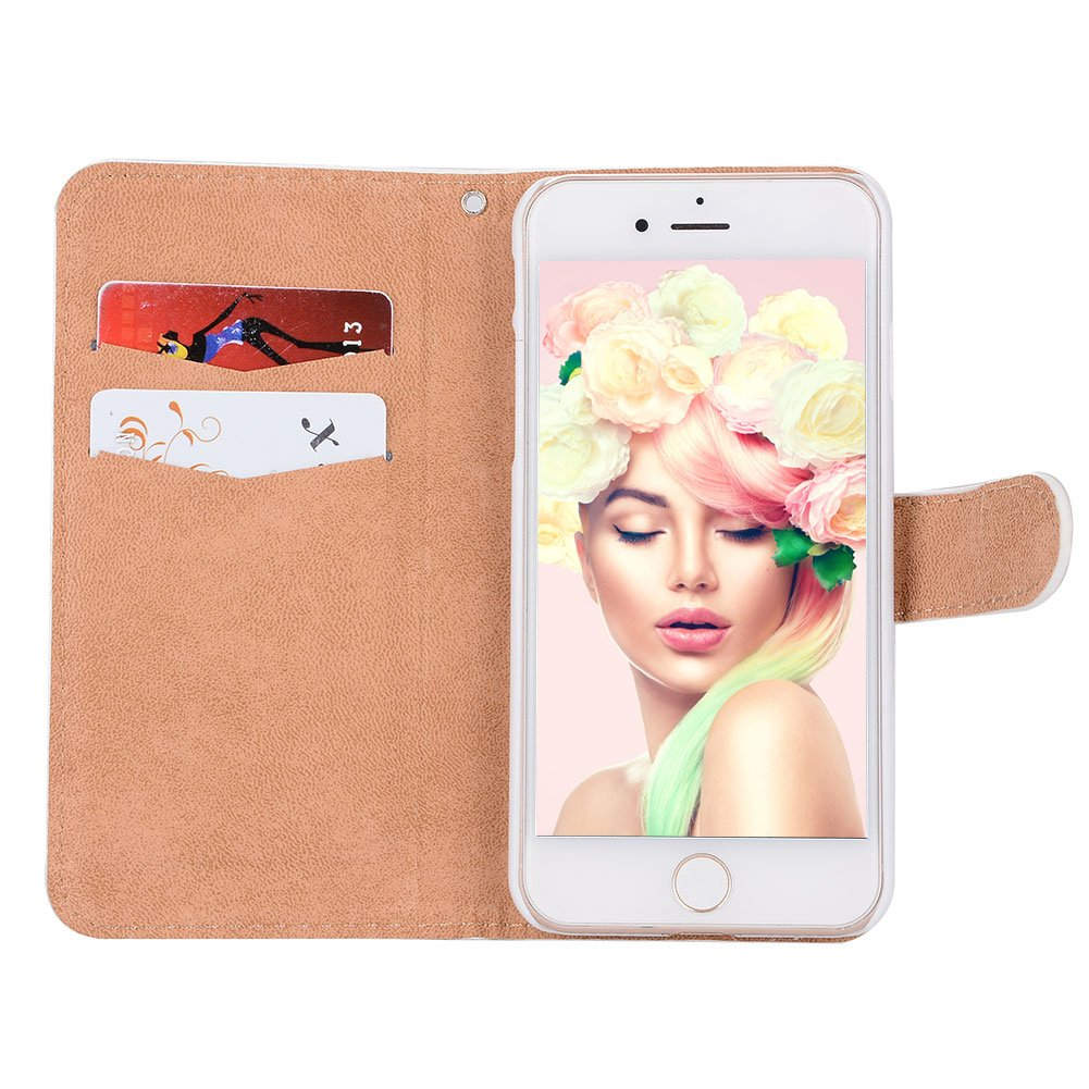 Black PU Leather Shiny Diamond Crystal Flip Wallet Case Folding Stand Protective Case Cover with Magnetic Clasp and Card Holder Butterfly White Flower Girlyard For iPhone 6 iPhone 6S Wrist Strap