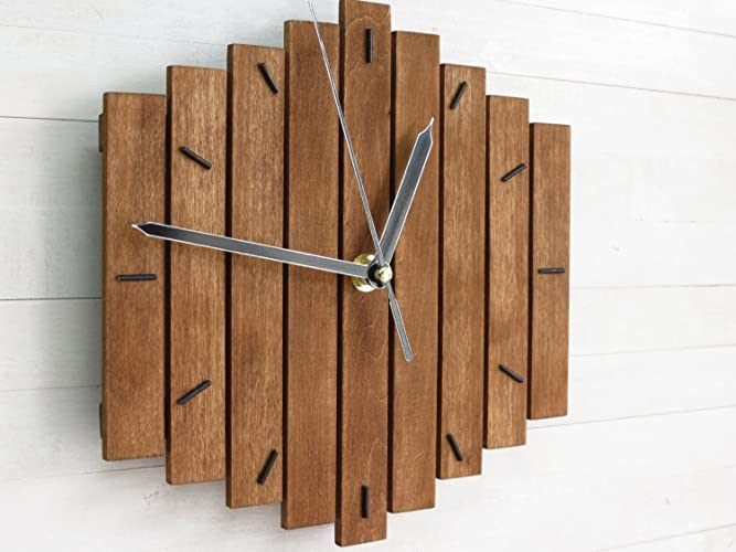 nice looking modern wall clocks amazon. Wood Wall Clock  quot Romb I Wooden Geometric Steampunk Amazon com