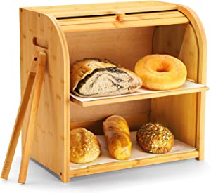 """Bamboo Bread Box, Luckyshe 2 Layer Rolltop Bread Bin for Kitchen, Large Capacity Wooden Bread Storage Holder, Countertop Bread Keeper with Toaster Tong, 15"""" X 9.8"""" X 14.5""""(easy Self-assembly)"""