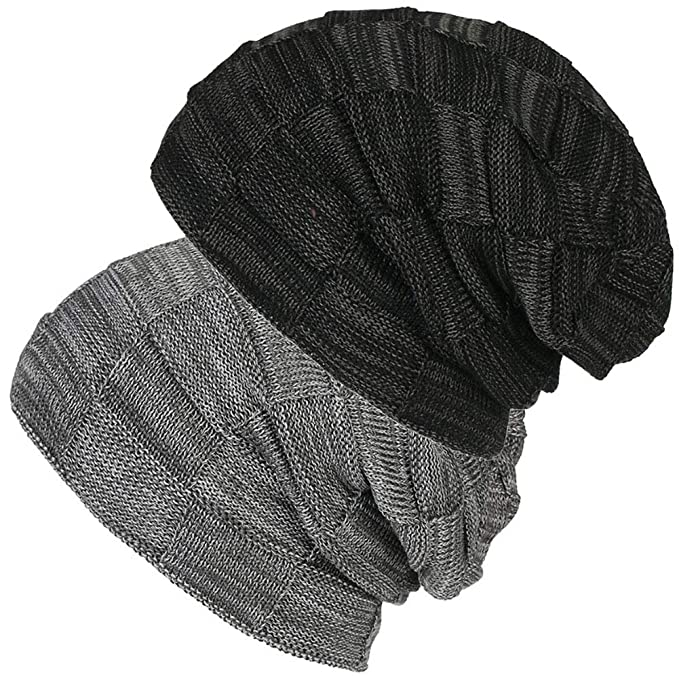 ffeb6554aaf 2 Pack Unisex Winter Knit Skull Cap Wool Warm Slouchy Beanies Hat for Men    Women