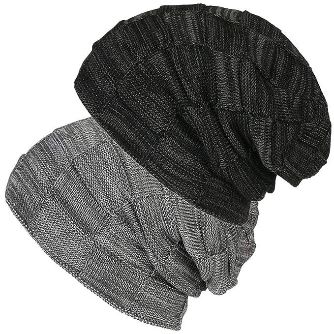fcdd267a366 2 Pack Unisex Winter Knit Skull Cap Wool Warm Slouchy Beanies Hat for Men    Women