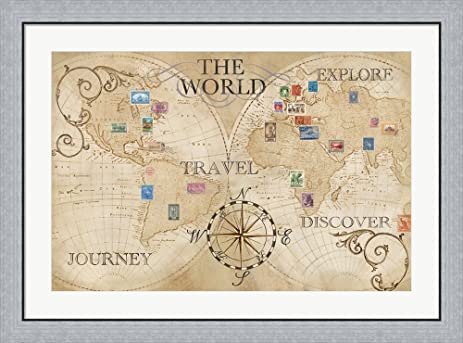 Amazon old world journey map stamps cream by cynthia coulter old world journey map stamps cream by cynthia coulter framed art print wall picture flat gumiabroncs Gallery