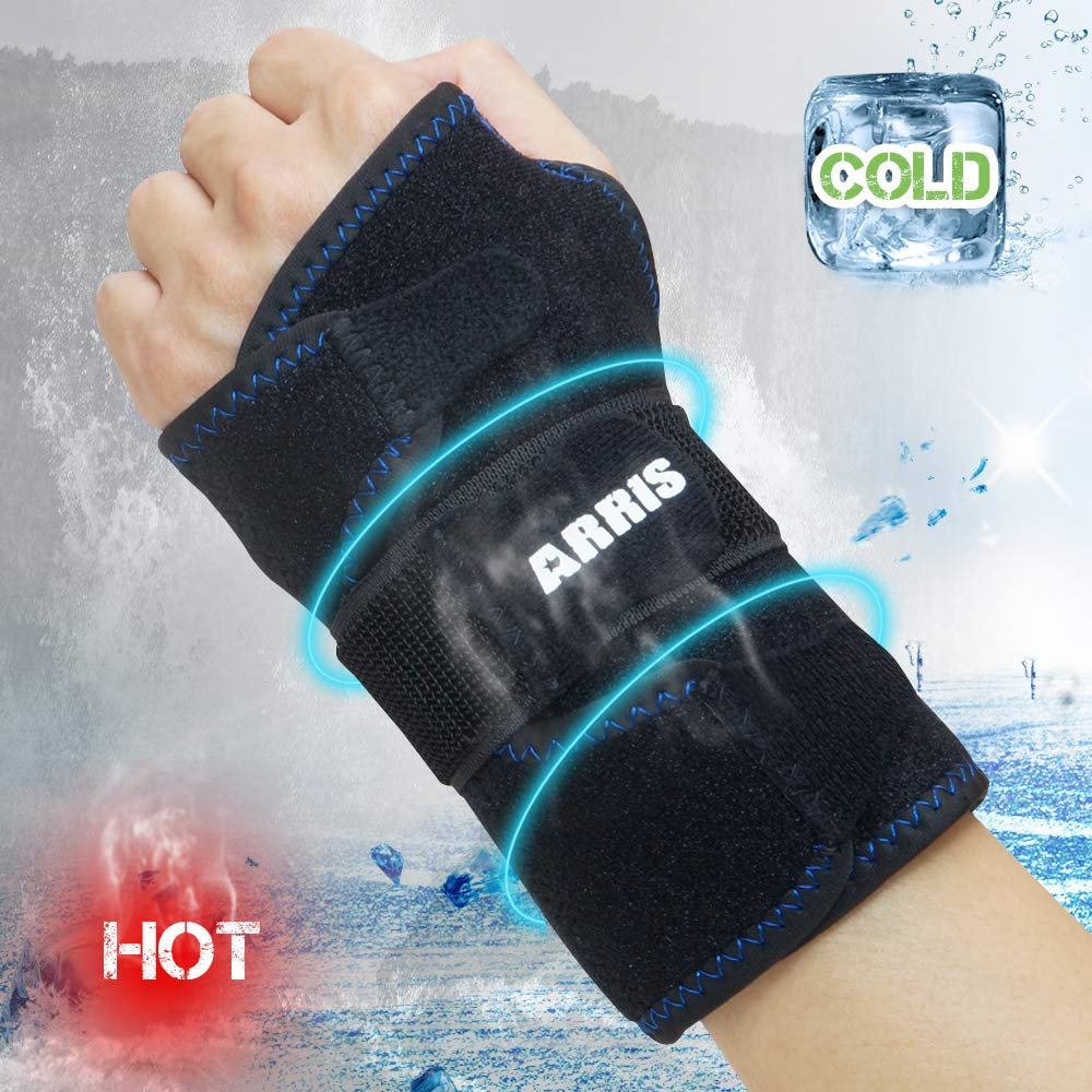 Wrist Ice Pack Wrap - Hand Support Brace with Reusable Gel Pack/Hot Cold Therapy for Pain Relief of Carpal Tunnel, Rheumatoid Arthritis, Tendonitis, Sports Injuries, Swelling, Bruises & Sprains by ARRIS