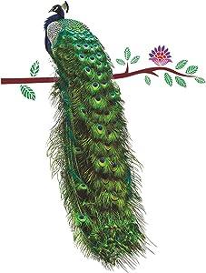 "SWORNA Nature Series Flower Peacock Garden Vinyl Removable DIY Wall Art Mural Sticker Decor Decal - Lady's Bedroom Office Sitting Living Room Hallway Kitchen Glass Door Window Nursery 26"" H X 23"" W"