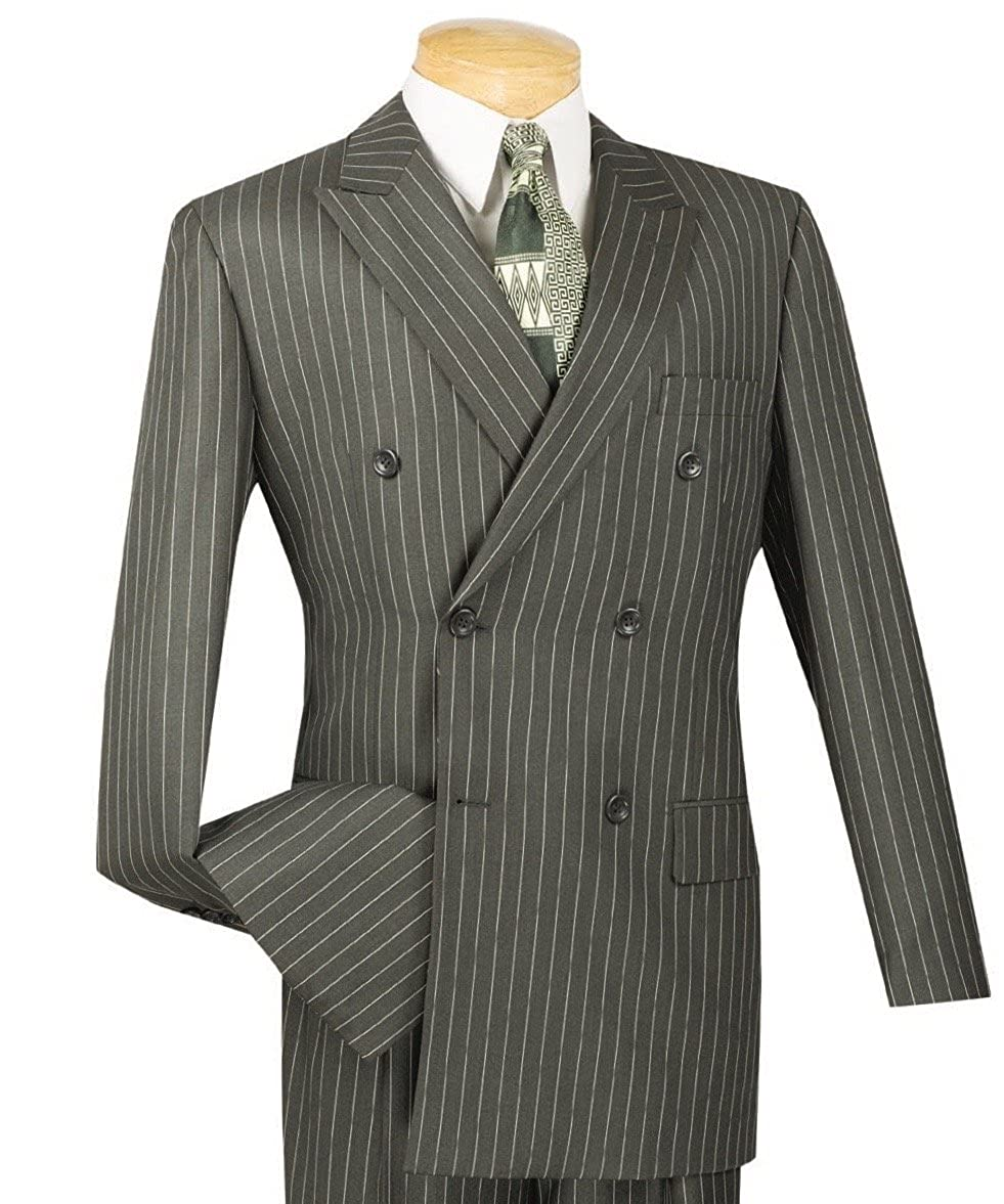 1940s Zoot Suit History & Buy Modern Zoot Suits VINCI Mens Gangster Pinstriped Double Breasted 6 Button Classic-Fit Suit New $119.95 AT vintagedancer.com