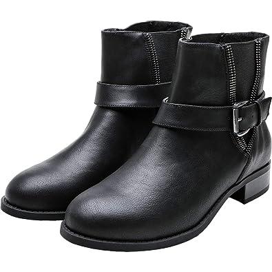 ce3941ffe Women's Wide Width Ankle Boots, Chunky Block Low Heel Slip On Side Zipper  Buckle Elastic